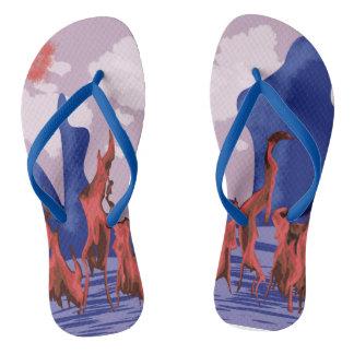 Blue mountains & fire flip flops