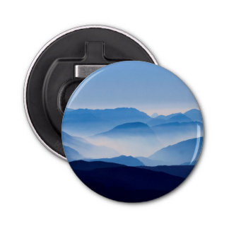Blue Mountains Landscape Scene Button Bottle Opener