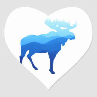Blue Mountains Moose Silhouette Heart Sticker