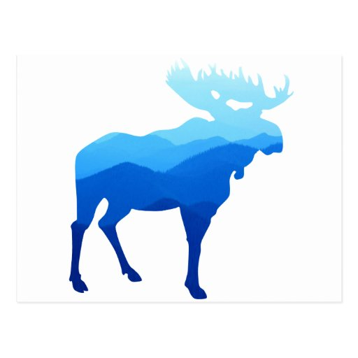 Blue Mountains Moose Silhouette Post Cards