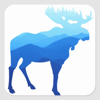 Blue Mountains Moose Silhouette Square Sticker