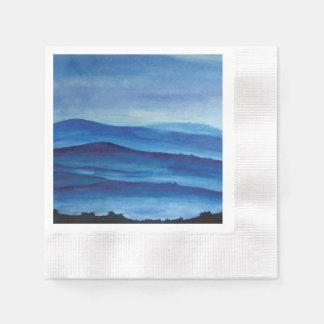 Blue mountains watercolor art landscape paper napkins