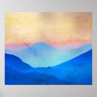 Blue Mountains Watercolour Poster
