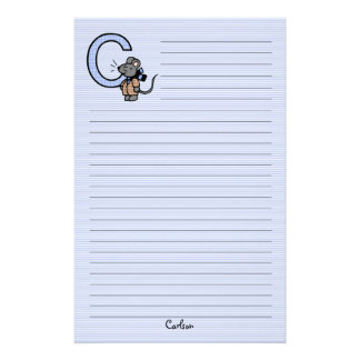 "Blue Mouse Monogrammed ""C"" Lined Customized Stationery"