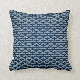 blue moustache pattern throw pillow