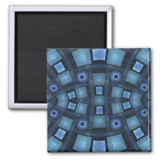 Blue Moves Abstract Geometric Pattern Square Magnet