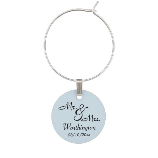 Blue Mr. and Mrs. Memento Wine Glass Charms