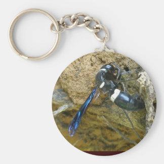Blue Mud Dauber Wasp Keychain