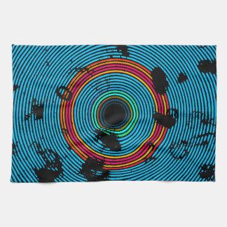Blue Multicolor Vinyl Disc Texture Pattern Kitchen Towel