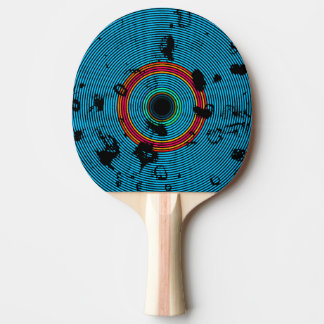 Blue Multicolor Vinyl Disc Texture Pattern Ping Pong Paddle