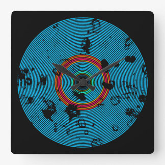 Blue Multicolor Vinyl Disc Texture Pattern Square Wall Clock