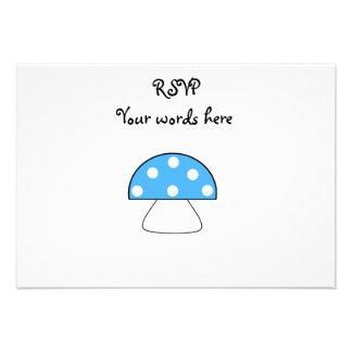 Blue mushrooms personalized invitation
