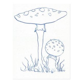 Blue Mushrooms Postcard