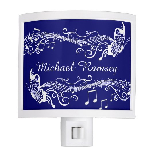 Blue Music Butterflies Personalized Night Light
