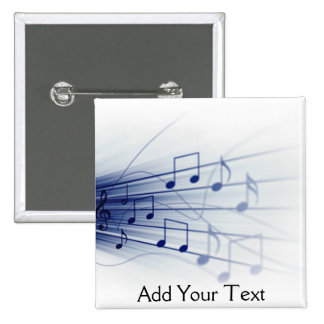 Blue Music Explosion on White 2 Inch Square Button