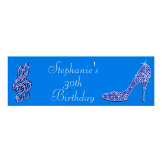 Blue Music Note and Stiletto 30th Birthday Poster