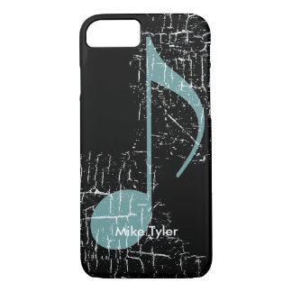 blue music note on black iPhone 7 case