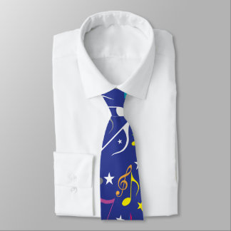 Blue Music Notes Tie