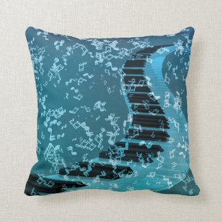 Blue Music Piano Keybord Decorative Throw Pillows