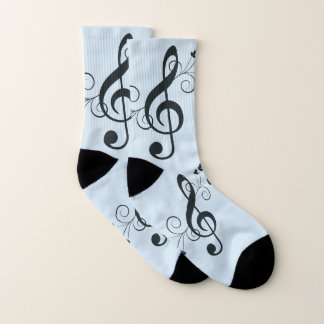 Blue Music Treble Clef Socks