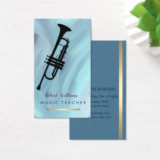 Blue Music Trumpet Instrument  Band Musician Business Card