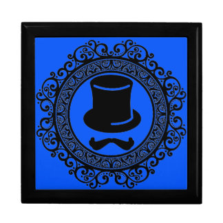 blue mustache hat hipster keepsake box