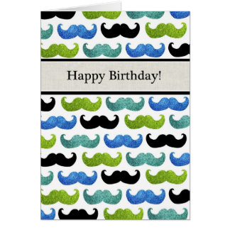 Blue Mustache pattern - Happy Birthday For Him Greeting Card