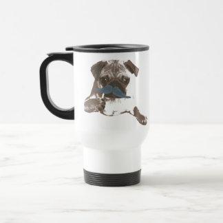 Blue Mustache Pug Mug
