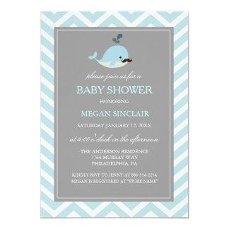 Blue Mustache Whale Boy Baby Shower Invitation