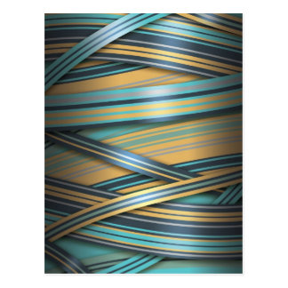 Blue Mustard abstract lines Postcard