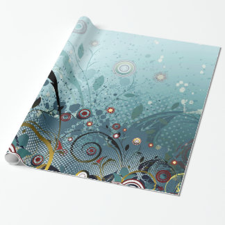 Blue Mystery Forest of Flowers and Tendrils Wrapping Paper