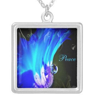 Blue N Purple Flower W/Dew Drop -Peace Necklace