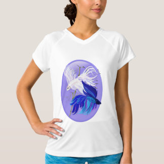 Blue 'n' White Siamese Fighting Fish Oval Shirts