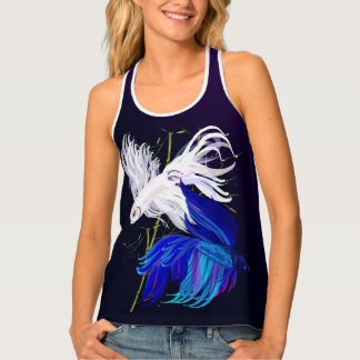 Blue 'n' White Siamese Fighting Fish Tank Top