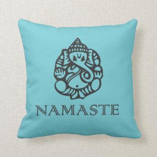 Blue Namaste Ganesh Pillow