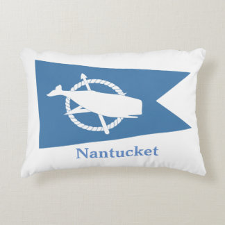 Blue Nantucket Whale flag pillow