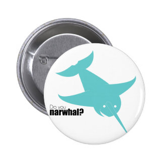 Blue Narwal Stoopid Goat Pinback Buttons
