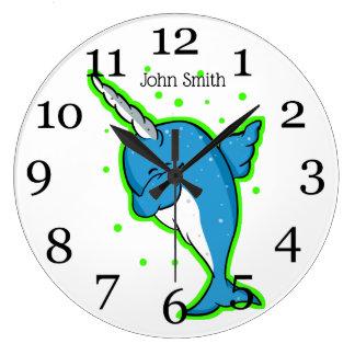 Blue Narwhal Dabbing Large Clock
