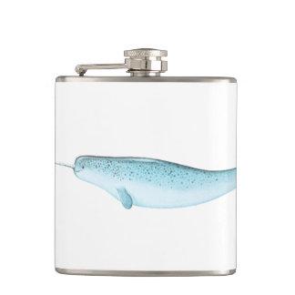 Blue Narwhal Illustration Hip Flask