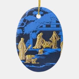 Blue nativity ceramic oval ornament