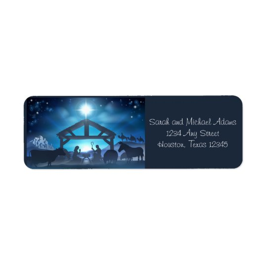 Blue Nativity Religious Christmas Return Address Return Address Label