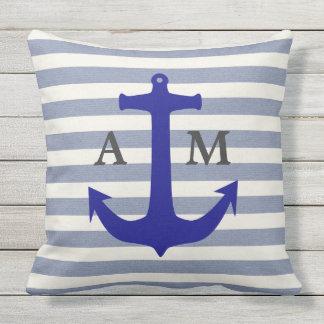 Blue Nautical Anchor Stripes Monogram Pillow