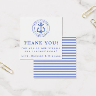 Blue Nautical Anchor | Thank You Square Business Card