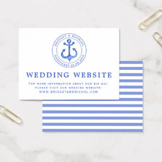 Blue Nautical Anchor | Wedding Website Information Business Card