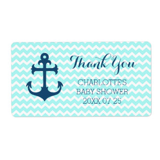 Blue Nautical Baby Shower Favor Labels