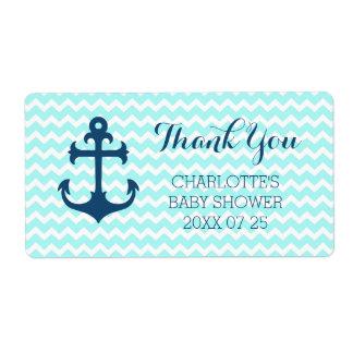 Blue Nautical Baby Shower Favor Labels