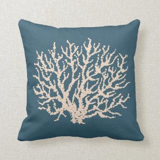 Blue Nautical Beach Coral Nautilus Throw Pillow