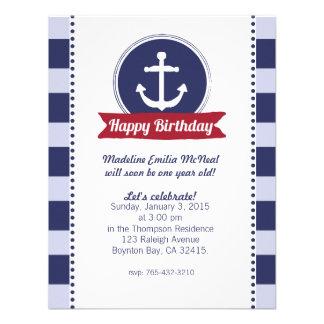 blue NAUTICAL BIRTHDAY party invitation