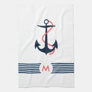 Blue Nautical Boat Anchor Decorative Blue Stripes Kitchen Towel