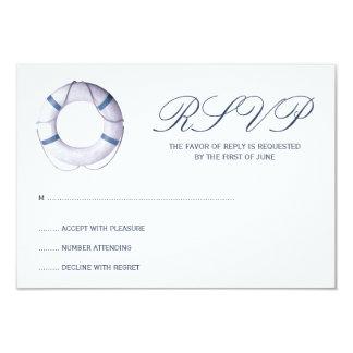 "Blue Nautical Life Ring Response Card 3.5"" X 5"" Invitation Card"